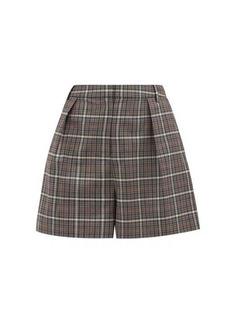 Tibi Gabe checked single-pleated tailored shorts