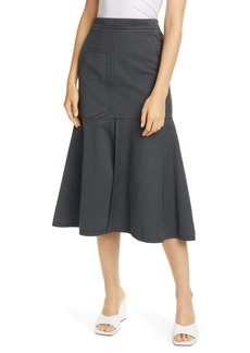 Tibi Garment Dyed Twill Midi Skirt