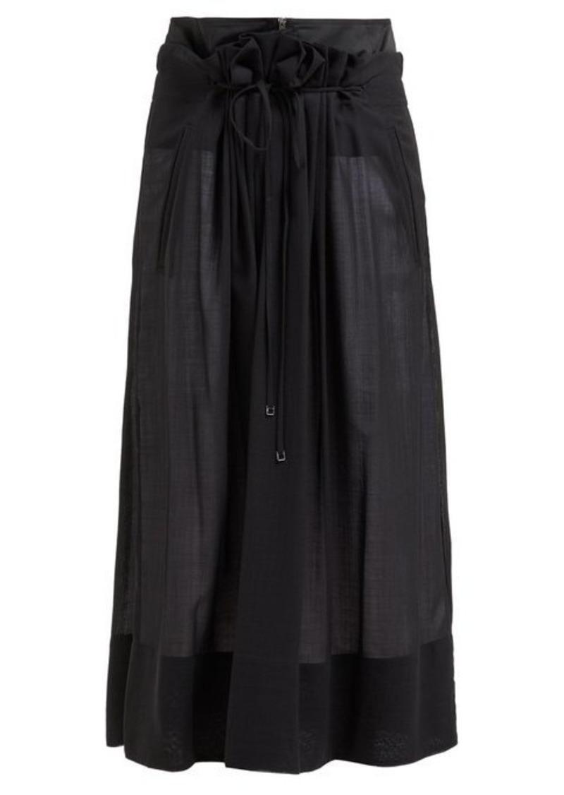 Tibi Gauze-overlay wool-blend midi skirt