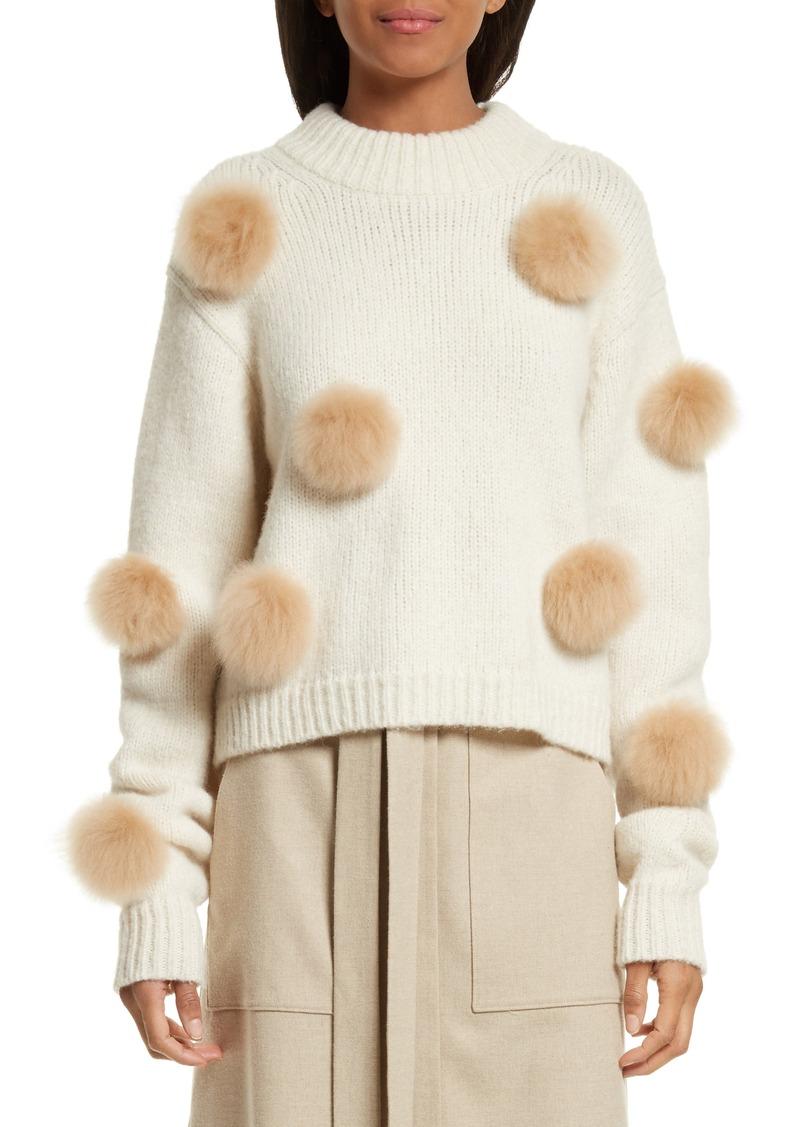 Tibi Tibi Genuine Alpaca Fur Trim Pompom Sweater Now 26998