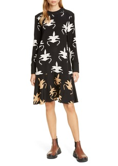 Tibi Ghost Orchid Long Sleeve Silk Dress