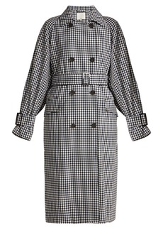 Tibi Gingham oversized trench coat