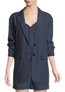 Tibi Gingham-Print Oversized Two-Button Blazer