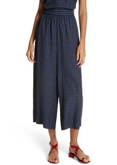 Tibi Gingham Wide Leg Crop Pants
