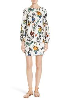 Tibi Gothic Floral Silk Shift Dress