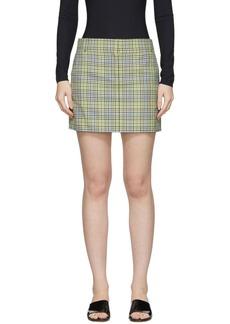 Tibi Green & Beige Recycled Check Miniskirt