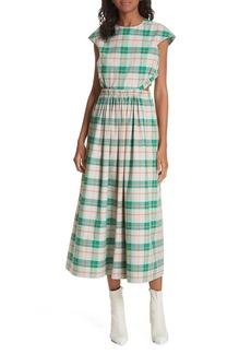 Tibi Hani Plaid Cutout Midi Dress
