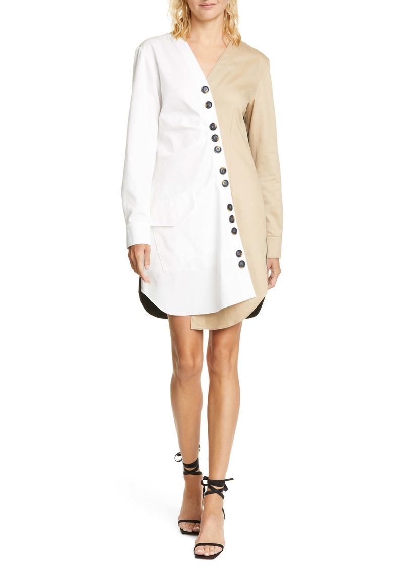 Tibi Harrison Asymmetrical Cotton Shirtdress