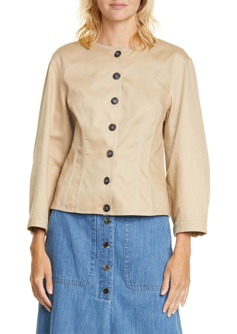 Tibi Harrison Blouson Sleeve Cotton Top