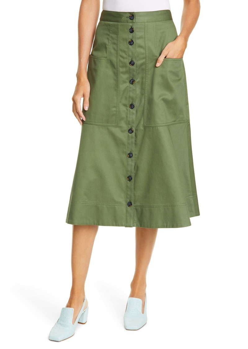 Tibi Harrison Cotton A-Line Midi Skirt