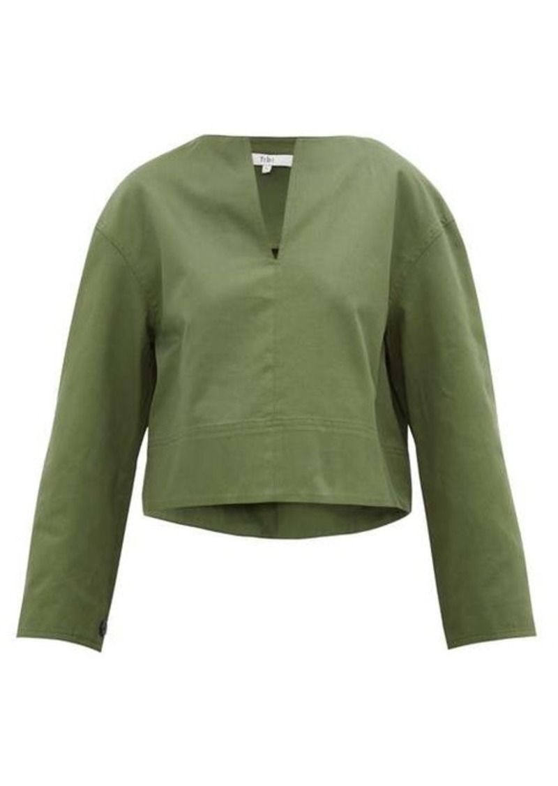 Tibi Harrison slit-neck cotton-twill blouse
