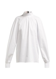 Tibi High-neck cotton-poplin blouse