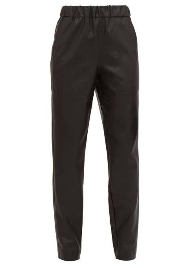 Tibi High-rise faux-leather trousers