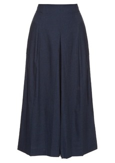 Tibi High-rise pleated cotton culottes
