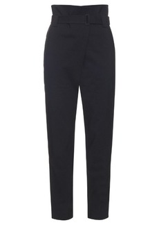 Tibi High-rise tapered-leg cotton-blend trousers