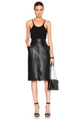 Tibi High Waist Leather Skirt