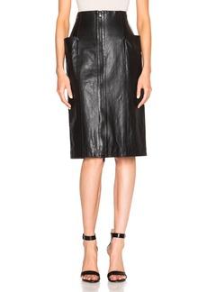 Tibi High Waist Leather Skirt