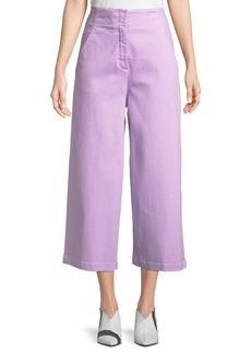Tibi High-Waist Wide-Leg Cropped Jeans