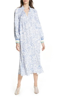 Tibi Isa Toile Print Ribbed Cuff Midi Dress