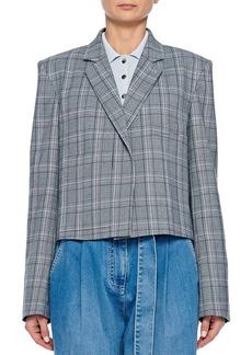 Tibi James Menswear Check Button-Front Cropped Blazer