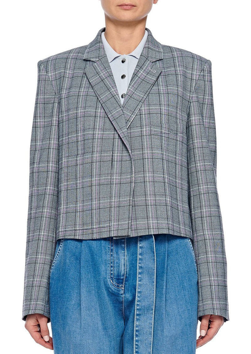 Tibi James Menswear Check Button-Front Cropped Blazer