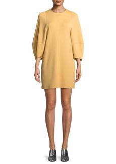 Tibi Jewel-Neck Balloon-Sleeve Crepe Mini Dress