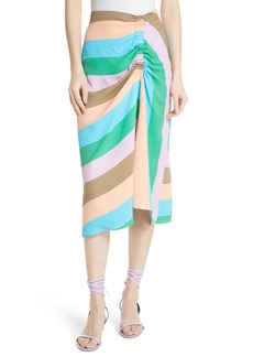 Tibi Julian Stripe Ruched Skirt