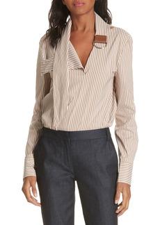 Tibi Kaia Stripe Belt Neck Shirt