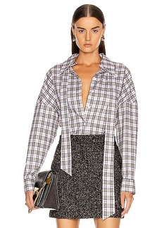 Tibi Kingston Shirting Easy Top with Zipper Detail