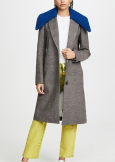 Tibi Labcoat with Removable Faux Fur Collar