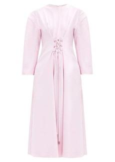 Tibi Lace-up crepe midi dress