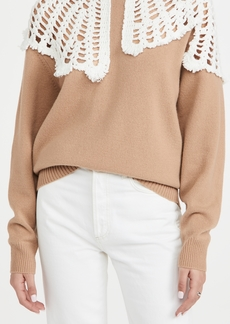 Tibi Lana Crochet Collar Wool Pullover