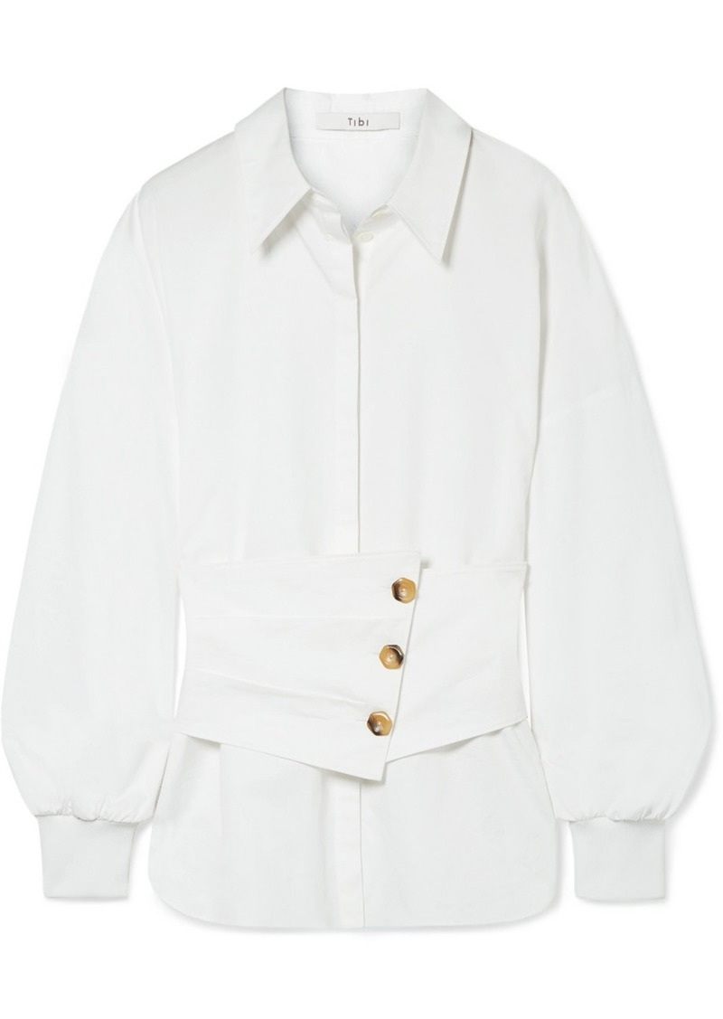 Tibi Layered cotton-poplin shirt