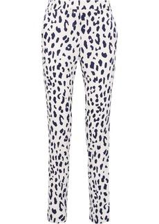 Tibi Leopard-print silk straight-leg pants