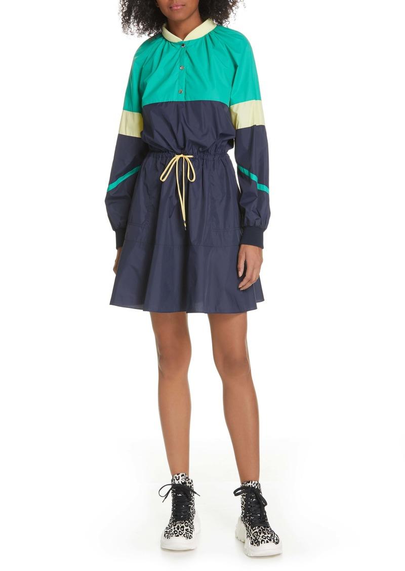 Tibi Lightweight Colorblock Long Sleeve Dress