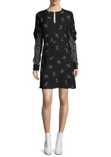 Tibi Lila Floral-Print A-line Mini Dress