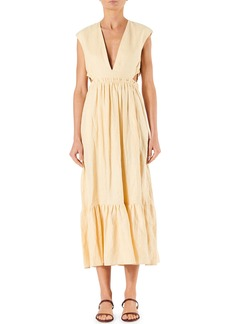 Tibi Linen Canvas Cutout V-Neck Dress