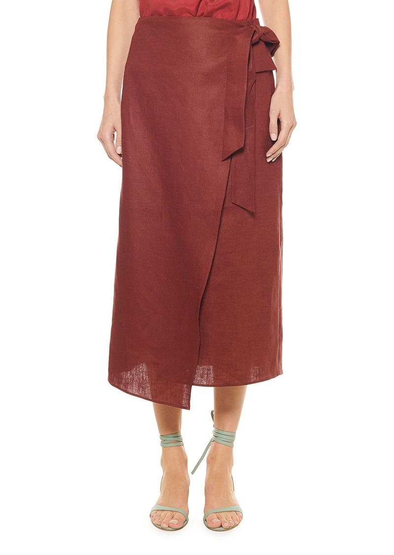 Tibi Linen Canvas Wrap Skirt