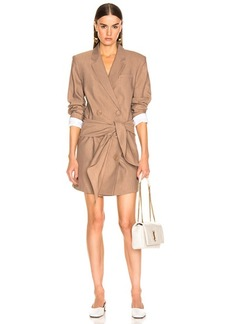 Tibi Linen Suiting Blazer Dress With Detachable Tie