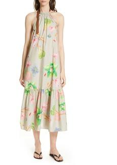 Tibi Linnea Floral Print Poplin Halter Midi Dress