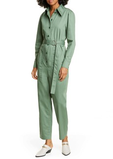Tibi Long Sleeve Cotton Twill Jumpsuit