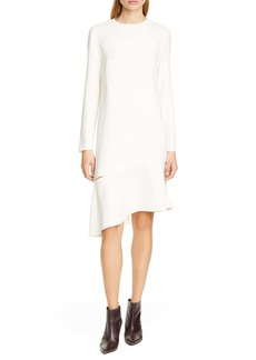 Tibi Long Sleeve Crepe Shift Dress