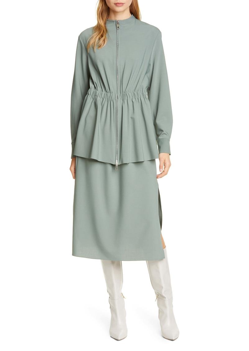 Tibi Long Sleeve Double Layer Plain Weave Dress