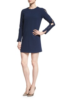 Tibi Long-Sleeve Structured Crepe Shift Dress
