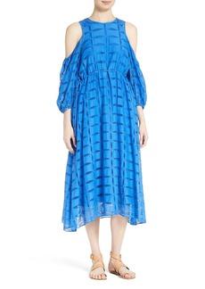 Tibi Luca Cold Shoulder Eyelet Midi Dress