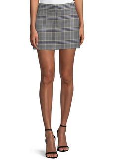 Tibi Lucas Plaid Suiting Mini Skirt