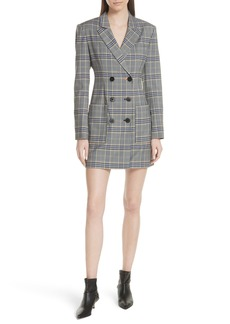 Tibi Lucas Suiting Double Breasted Wool Blend Dress