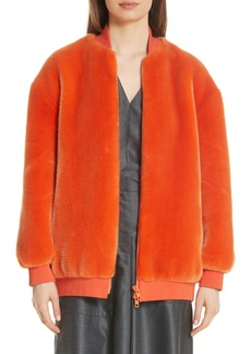Tibi Luxe Faux Fur Zip Track Jacket