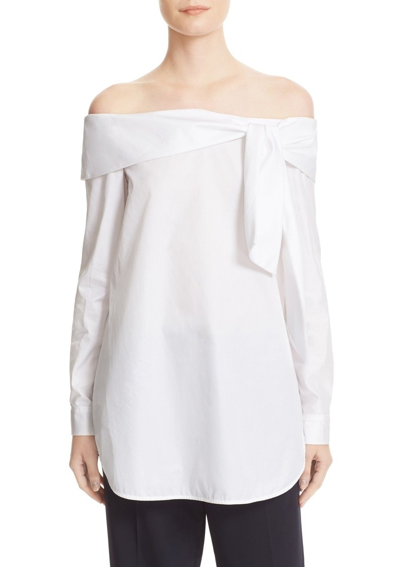 Tibi Luxe Tuxedo Off the Shoulder Bow Top