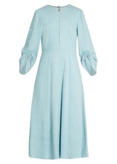 Tibi Marta ruched-sleeve linen-blend dress